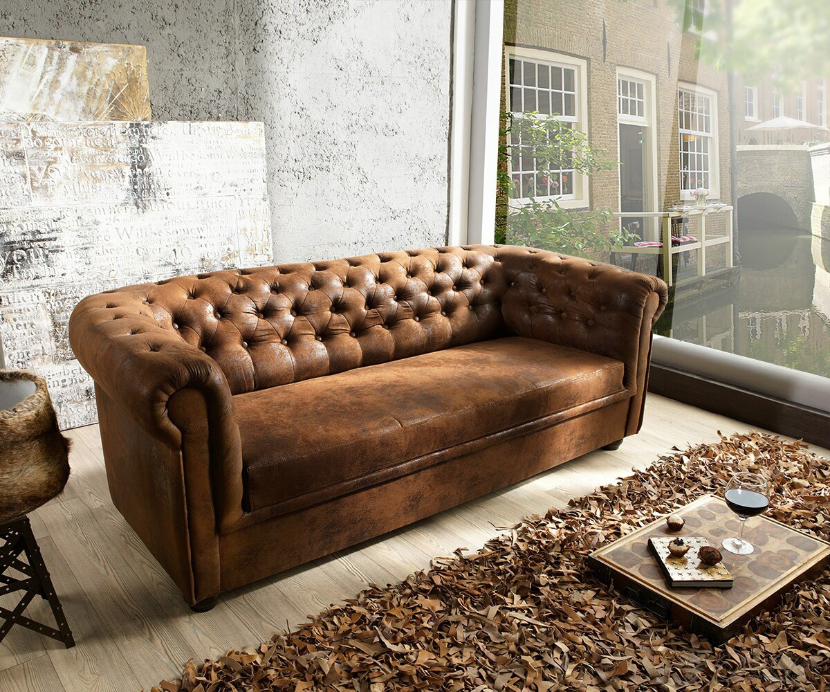 Couch chesterfield braun 200x90 cm antik optik abgesteppt for Sofa 3 meter