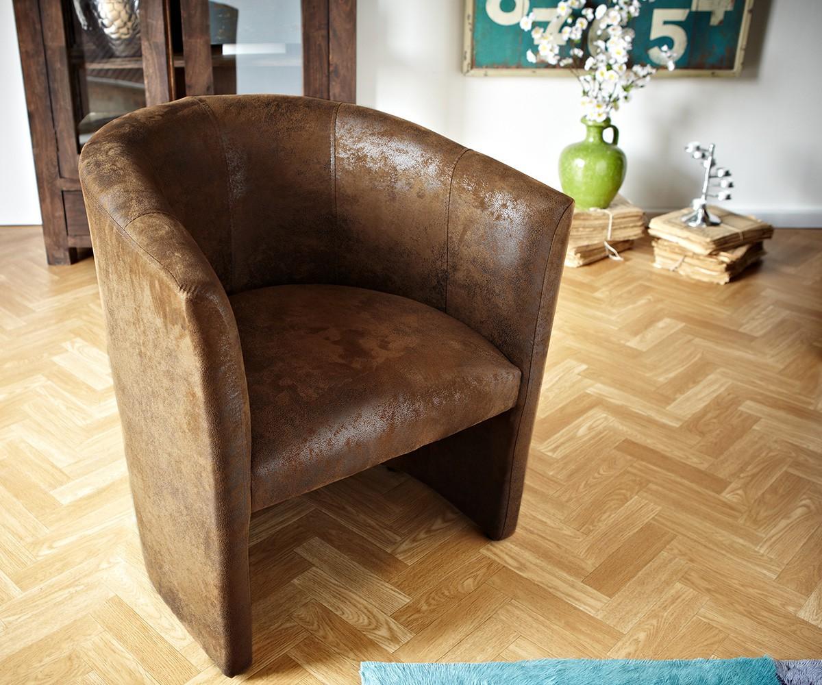 clubsessel cazim braun gepolstert antik optik cocktailsessel. Black Bedroom Furniture Sets. Home Design Ideas