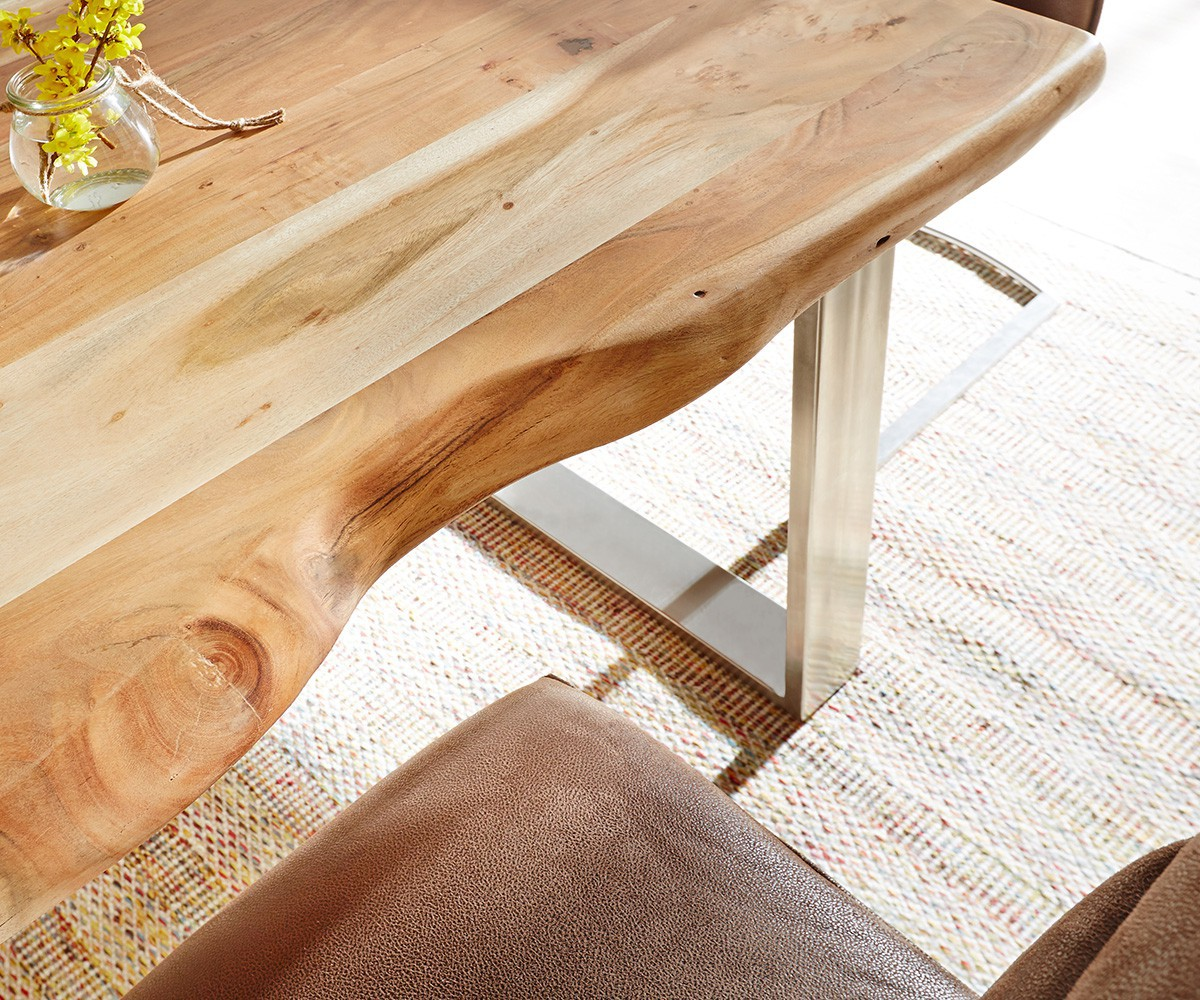 massivholztisch live edge akazie natur 140x90 platte 5cm gestell schmal baumtisch. Black Bedroom Furniture Sets. Home Design Ideas
