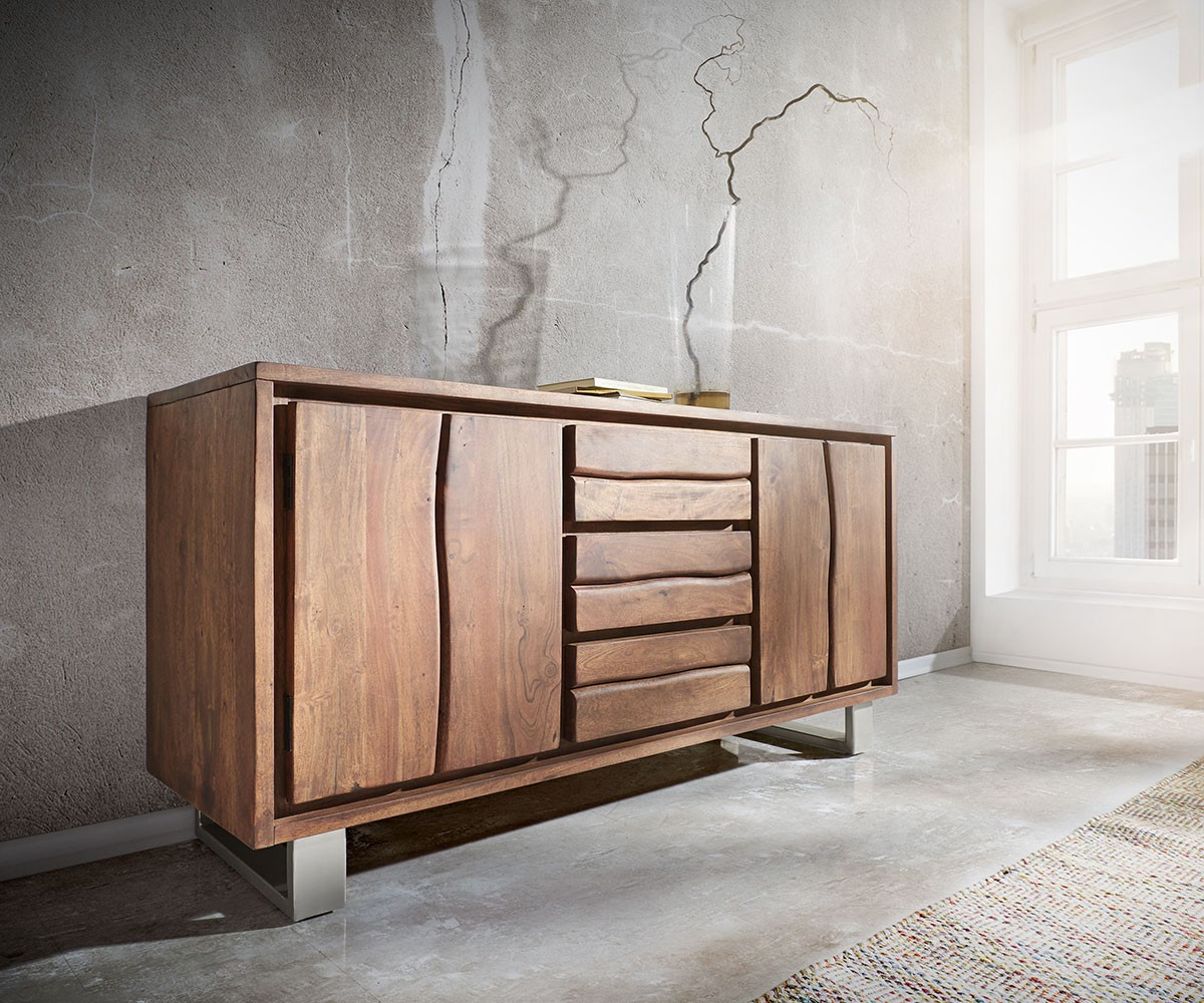 kommode live edge akazie braun 147 cm 2 t ren 3 sch be sideboard. Black Bedroom Furniture Sets. Home Design Ideas