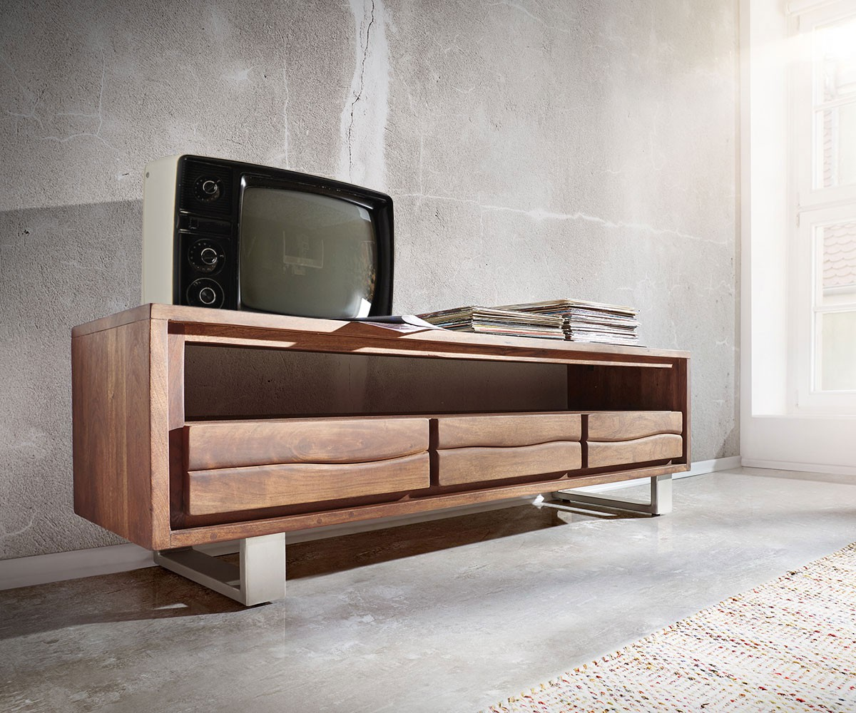 fernsehtisch live edge akazie braun 146x53 cm 1 fach 3 sch be lowboard. Black Bedroom Furniture Sets. Home Design Ideas