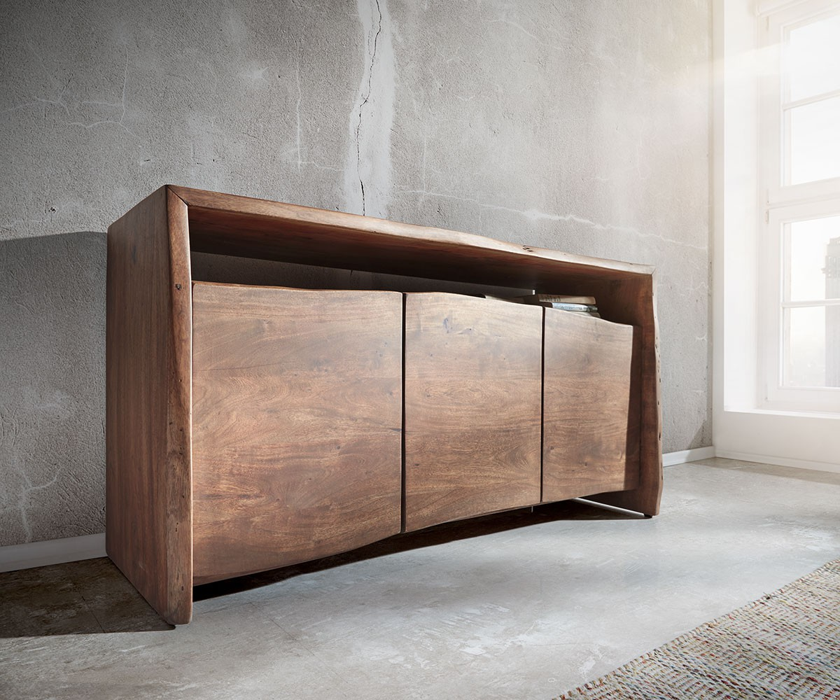 kommode live edge akazie braun 145x86 cm 3 t ren 1 fach sideboard. Black Bedroom Furniture Sets. Home Design Ideas