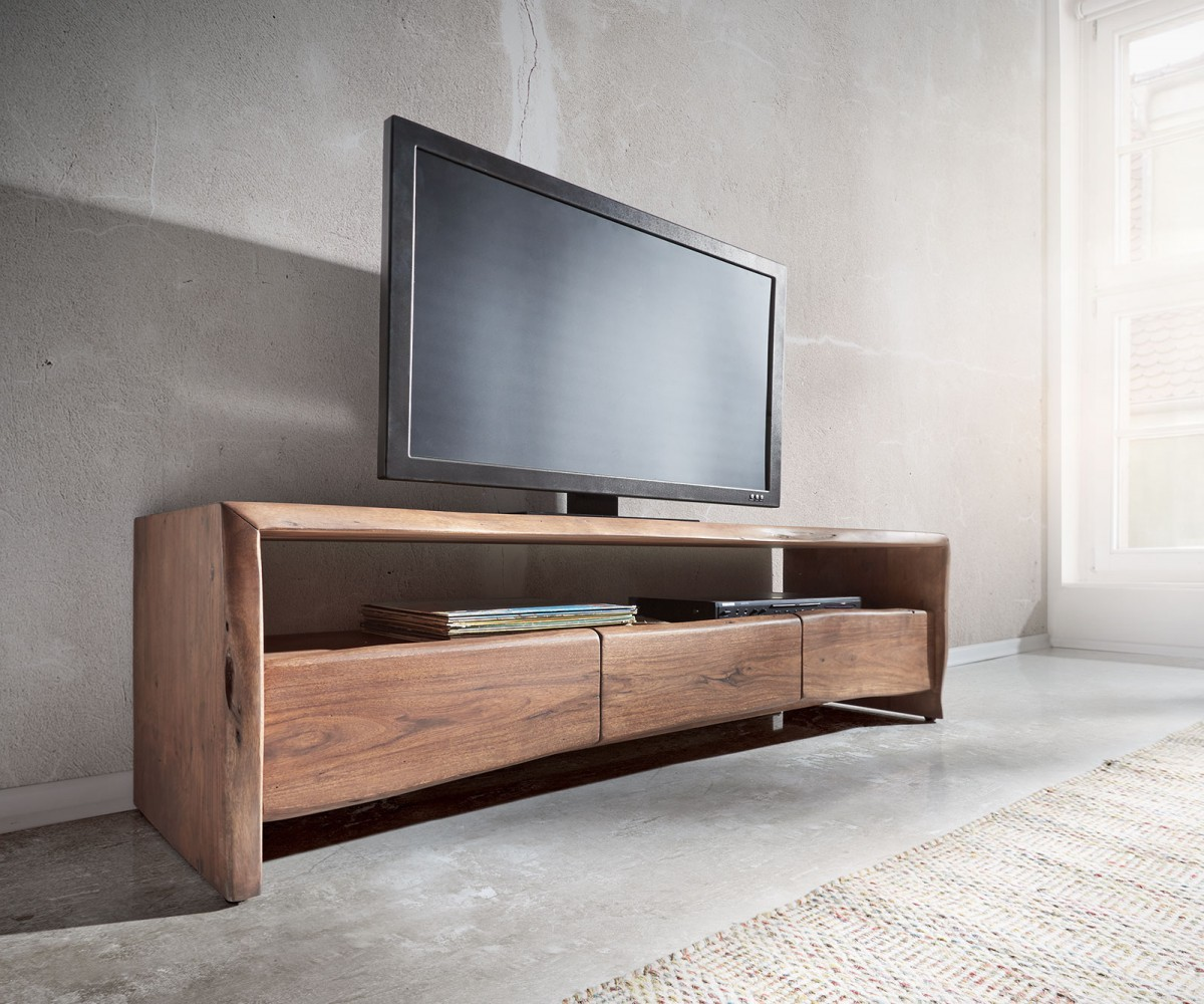fernsehtisch live edge akazie braun 145 cm ablagefach offen lowboard. Black Bedroom Furniture Sets. Home Design Ideas