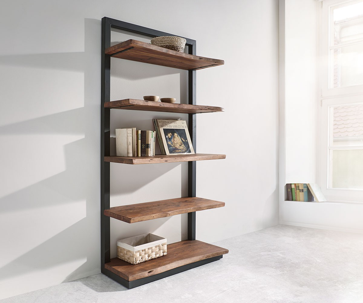 regal live edge akazie braun 92 cm mit metall 5 b den. Black Bedroom Furniture Sets. Home Design Ideas