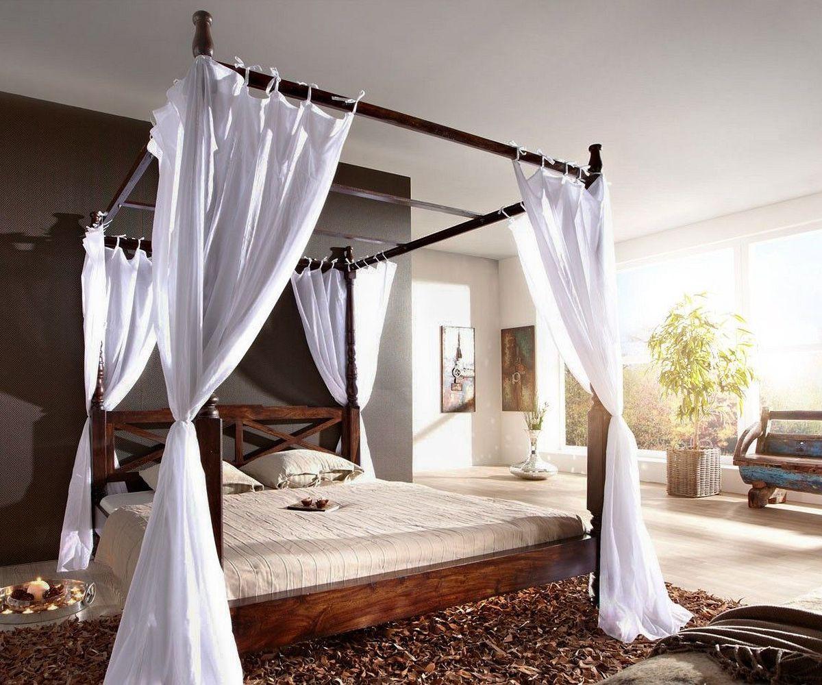 doppelbett bombay sheesham 180x200 kolonialstil himmelbett wolf m bel. Black Bedroom Furniture Sets. Home Design Ideas
