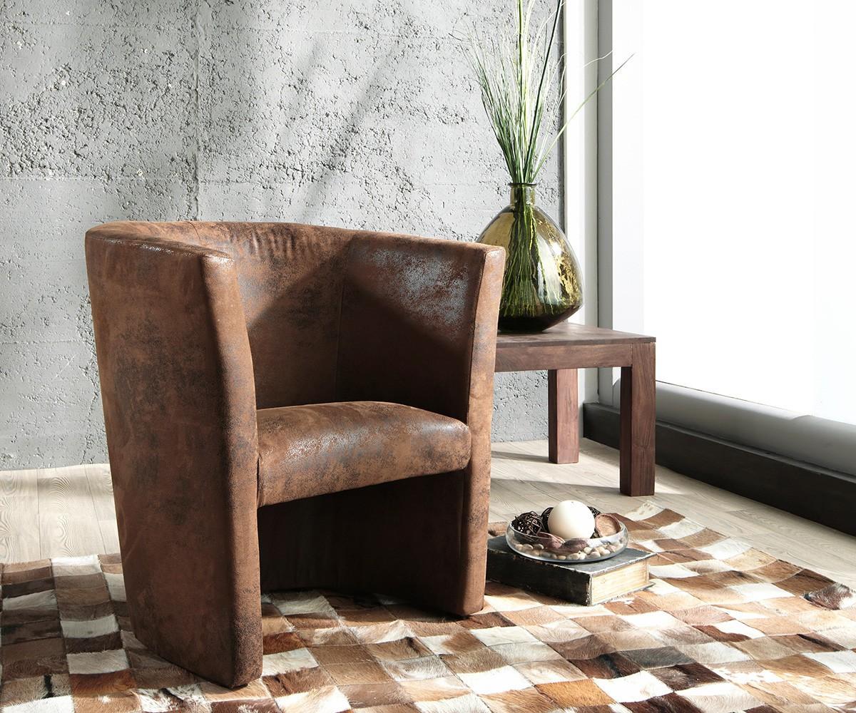 Designsessel Goya Braun gepolstert Lounge Chair Sessel